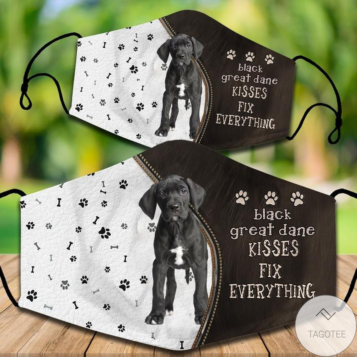 Black Great Dane Kisses Fix Everything Face Mask