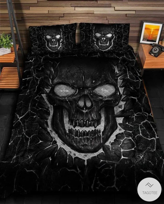 Black Skull Fire Quilt Bedding Set