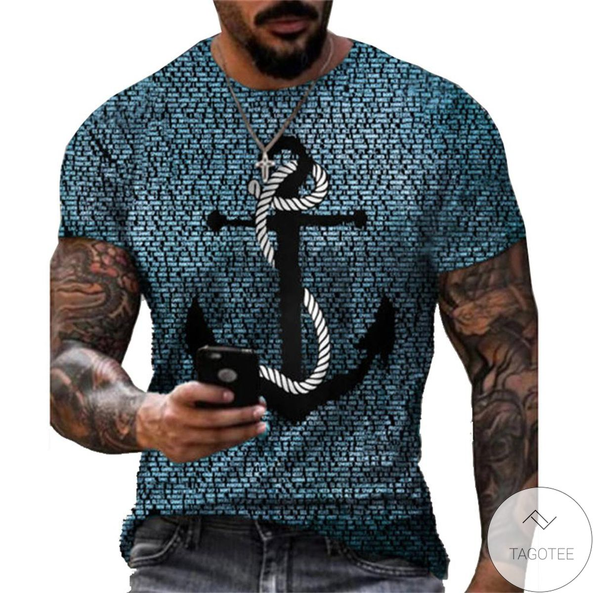 Nice Blue Gray Gold Summer 3d Graphic Printed Short Sleeve Shirt