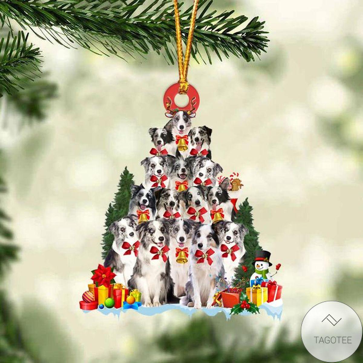 Blue Merle Collie Dog Christmas Tree Ornament