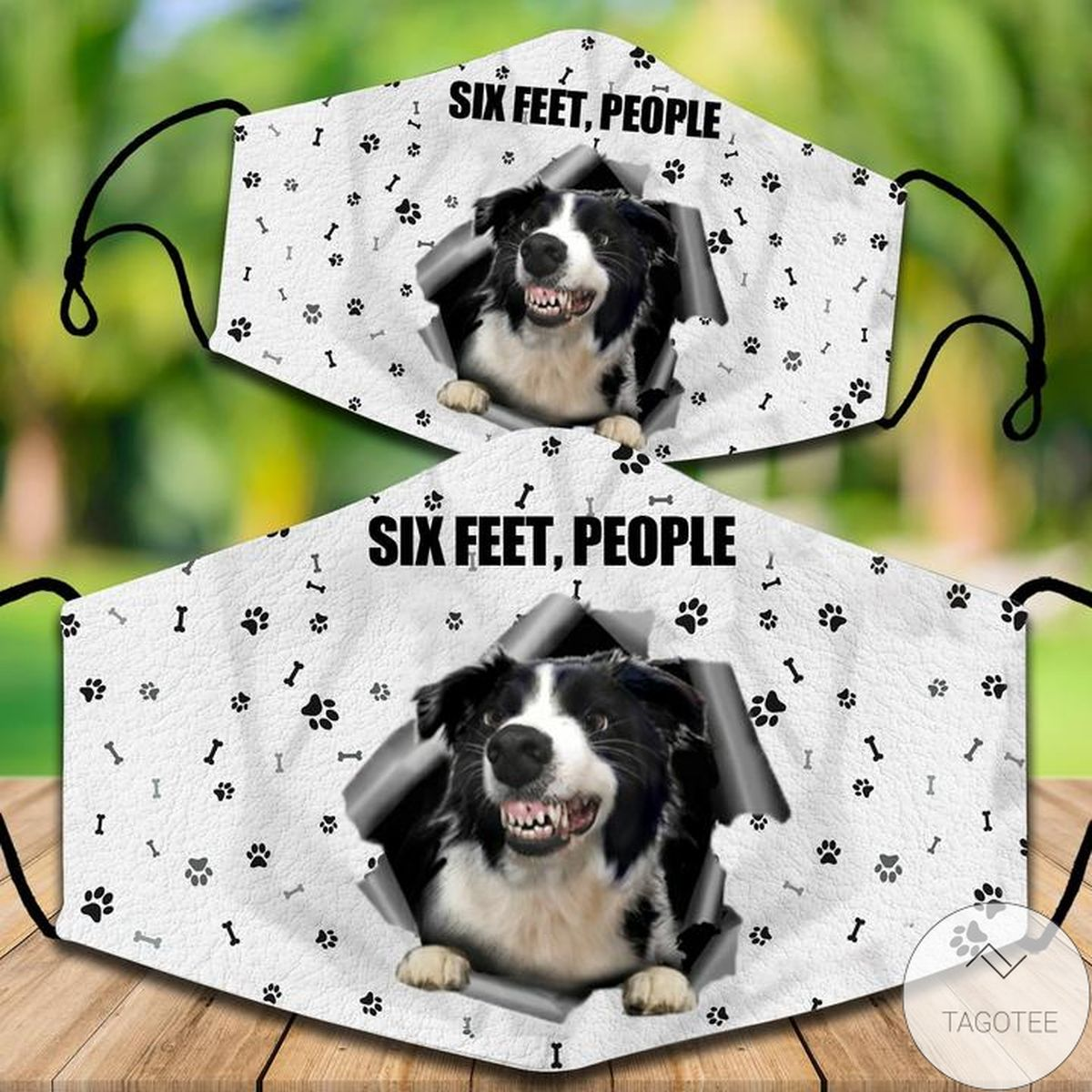 Fast Shipping Border Collie Six Feet People Face Mask