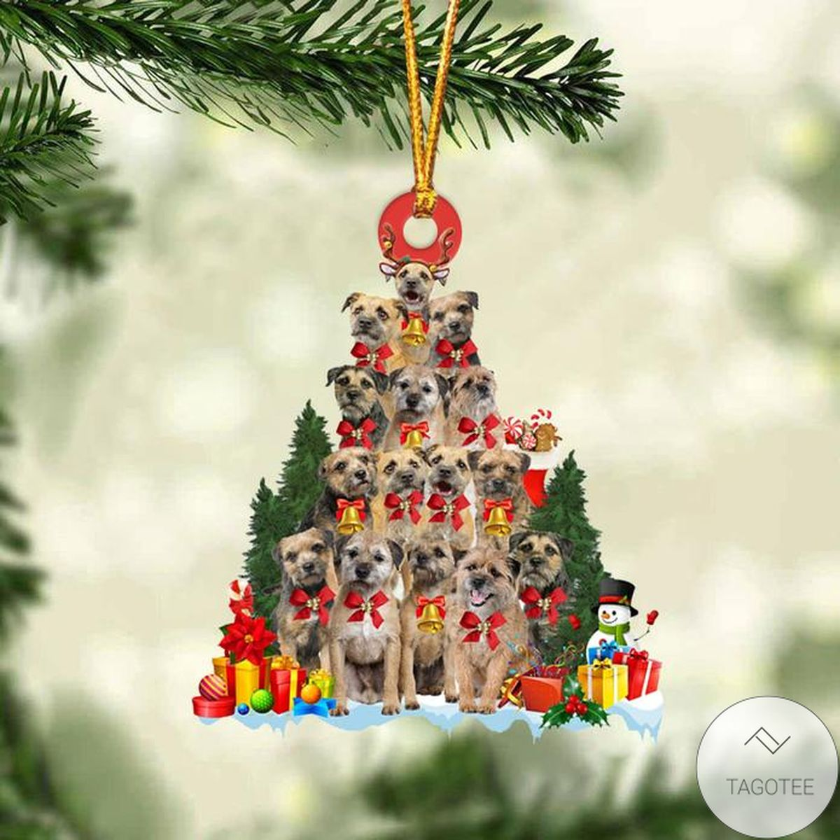 Border Terrier Dog Christmas Tree Ornament