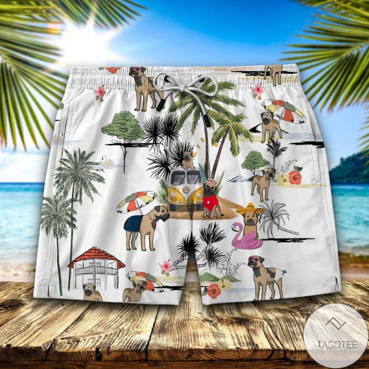 Border Terrier Hawaiian Swim Trunks Beach Shorts