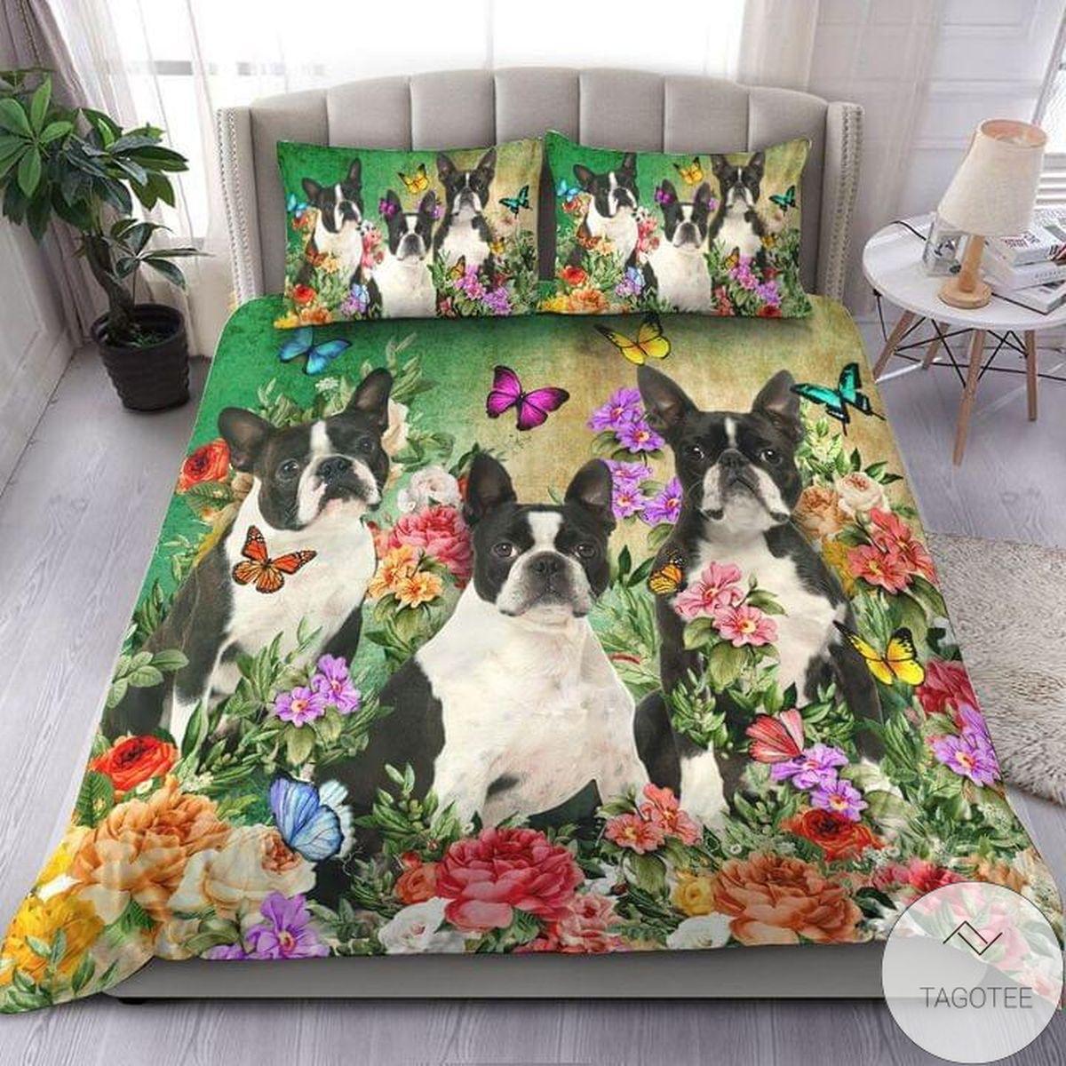 Boston Terrier Beautiful Flower Bedding Set