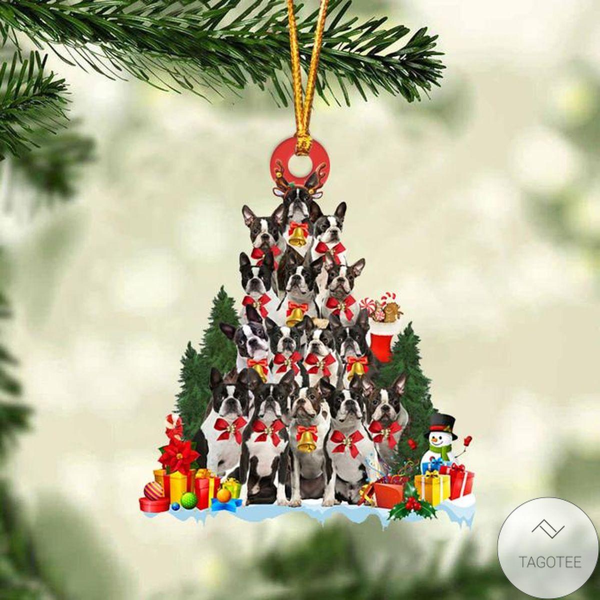 Boston Terrier Dog Christmas Tree Ornament