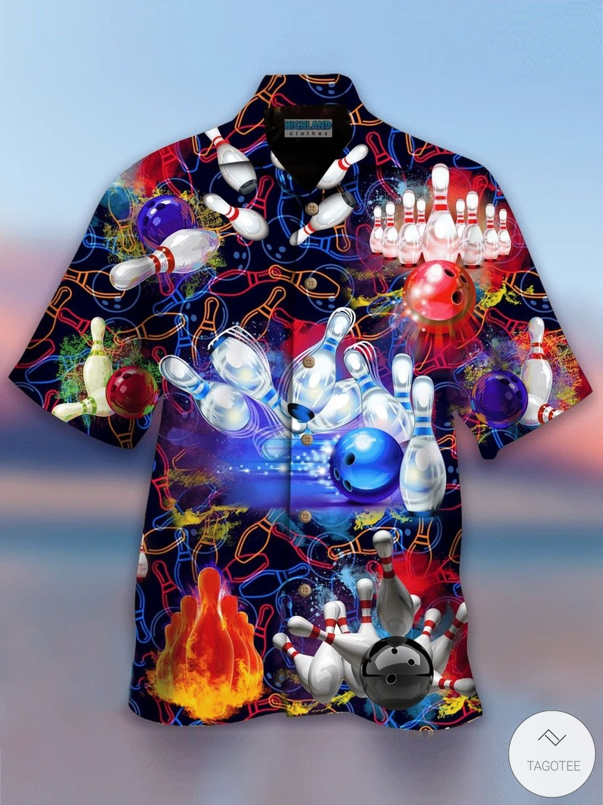 Bowling Neon Hawaiian Shirt