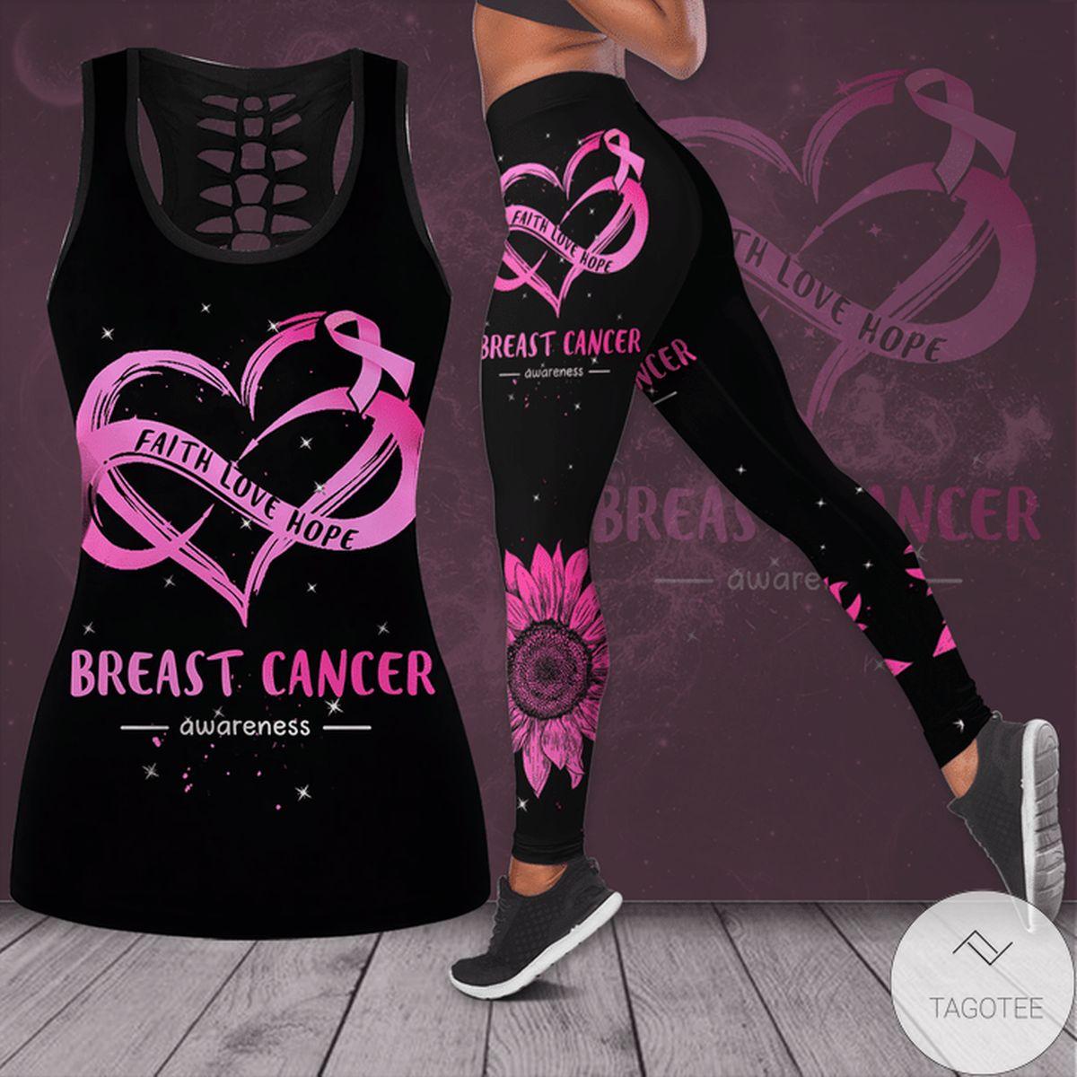 Breast Cancer Awareness Faith Love Hope Hollow Tank Top & Leggings Set