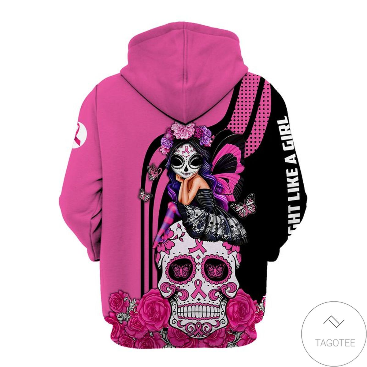 Great Breast Cancer Awareness Fight Like A Girl Zip Hoodie