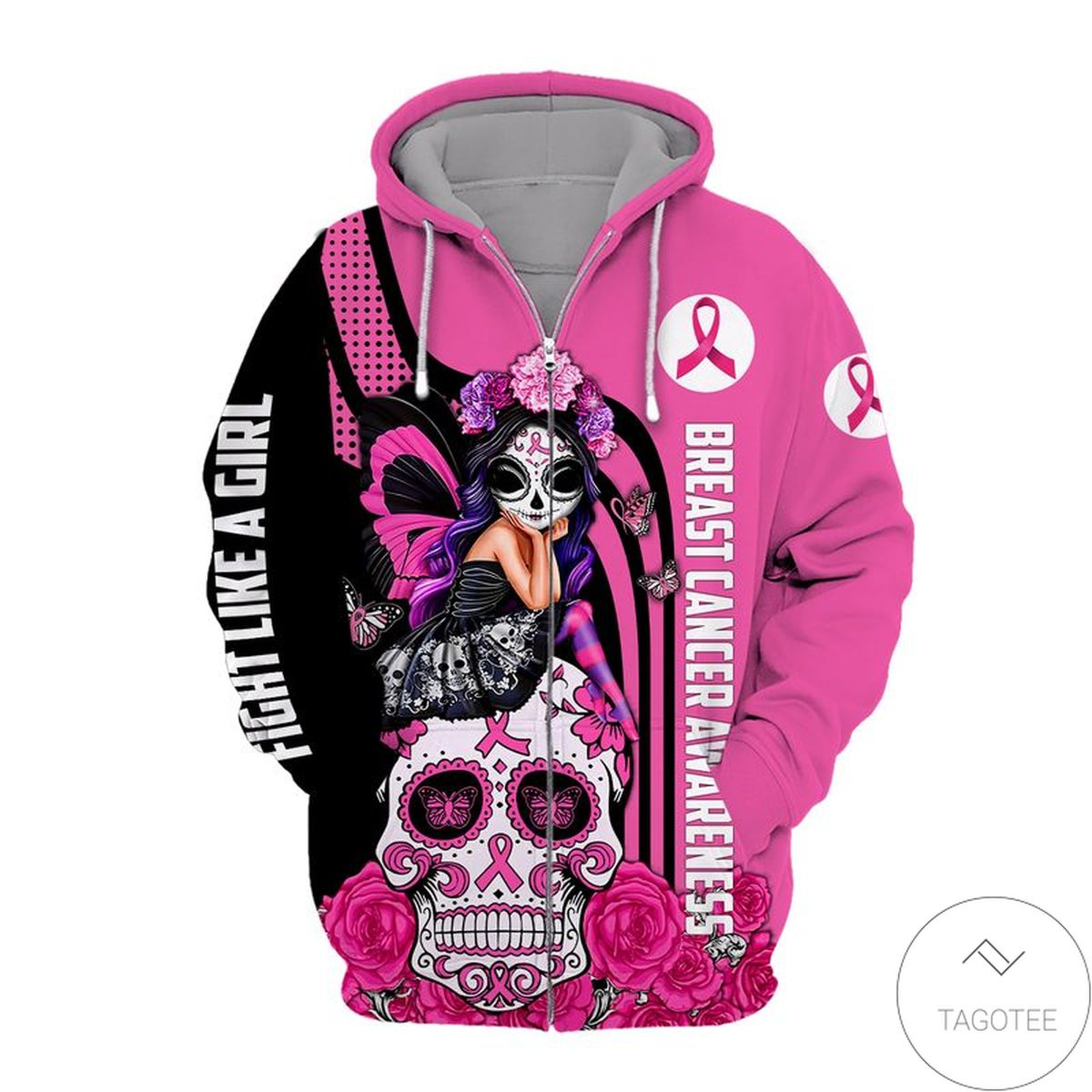 Present Breast Cancer Awareness Fight Like A Girl Zip Hoodie