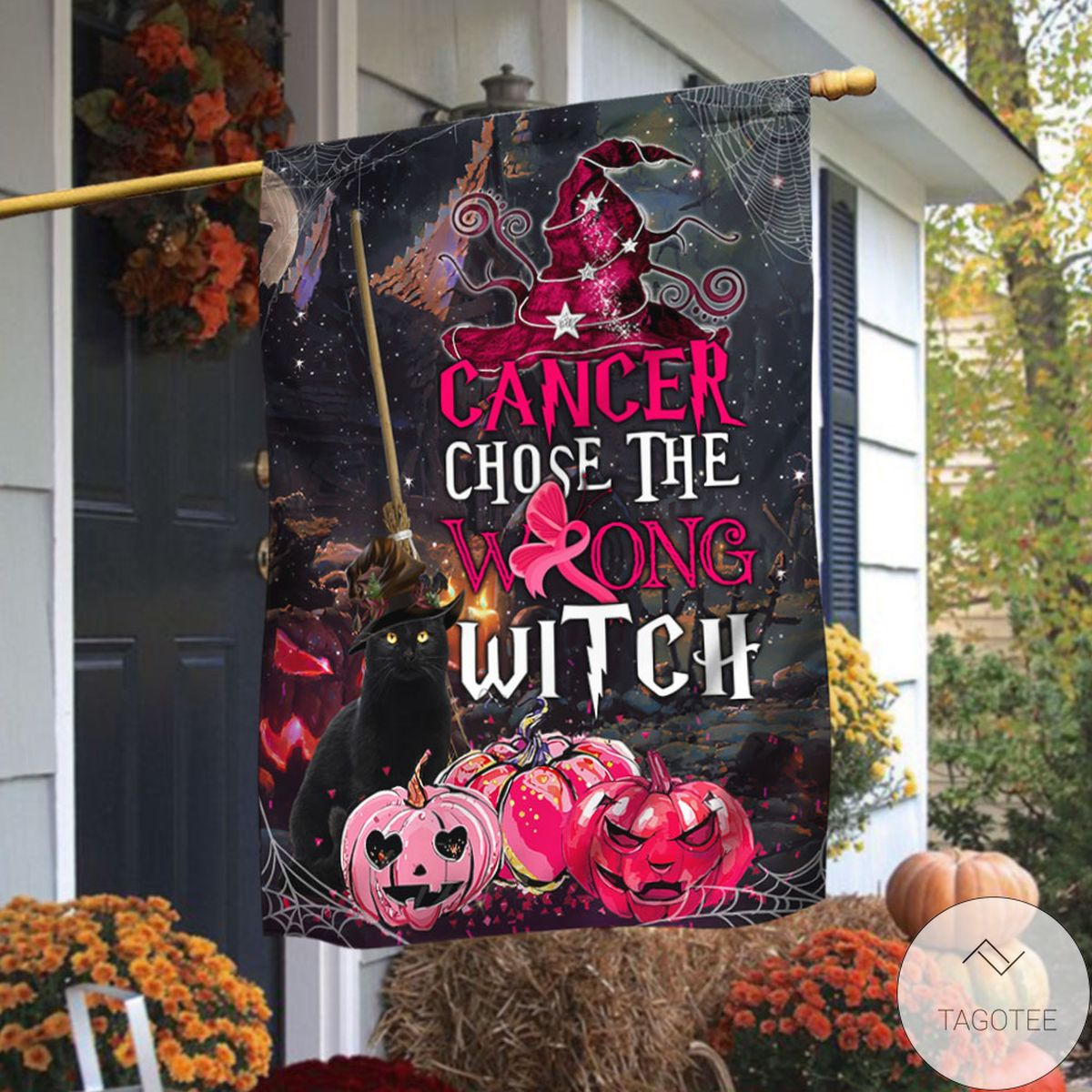 Breast Cancer Awareness Halloween Chose The Wrong Witch Flag
