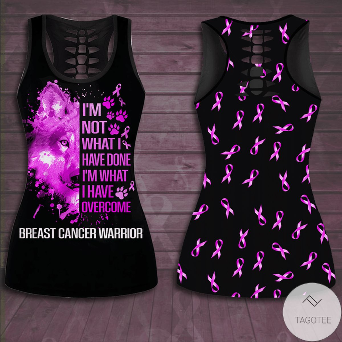 Rating Breast Cancer Awareness I'm Not What I Have Done I'm What I Have Overcome Hollow Tank Top & Leggings Set
