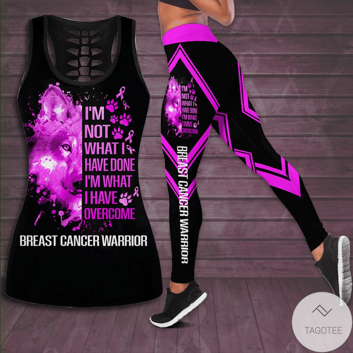 Breast Cancer Awareness I'm Not What I Have Done I'm What I Have Overcome Hollow Tank Top & Leggings Set