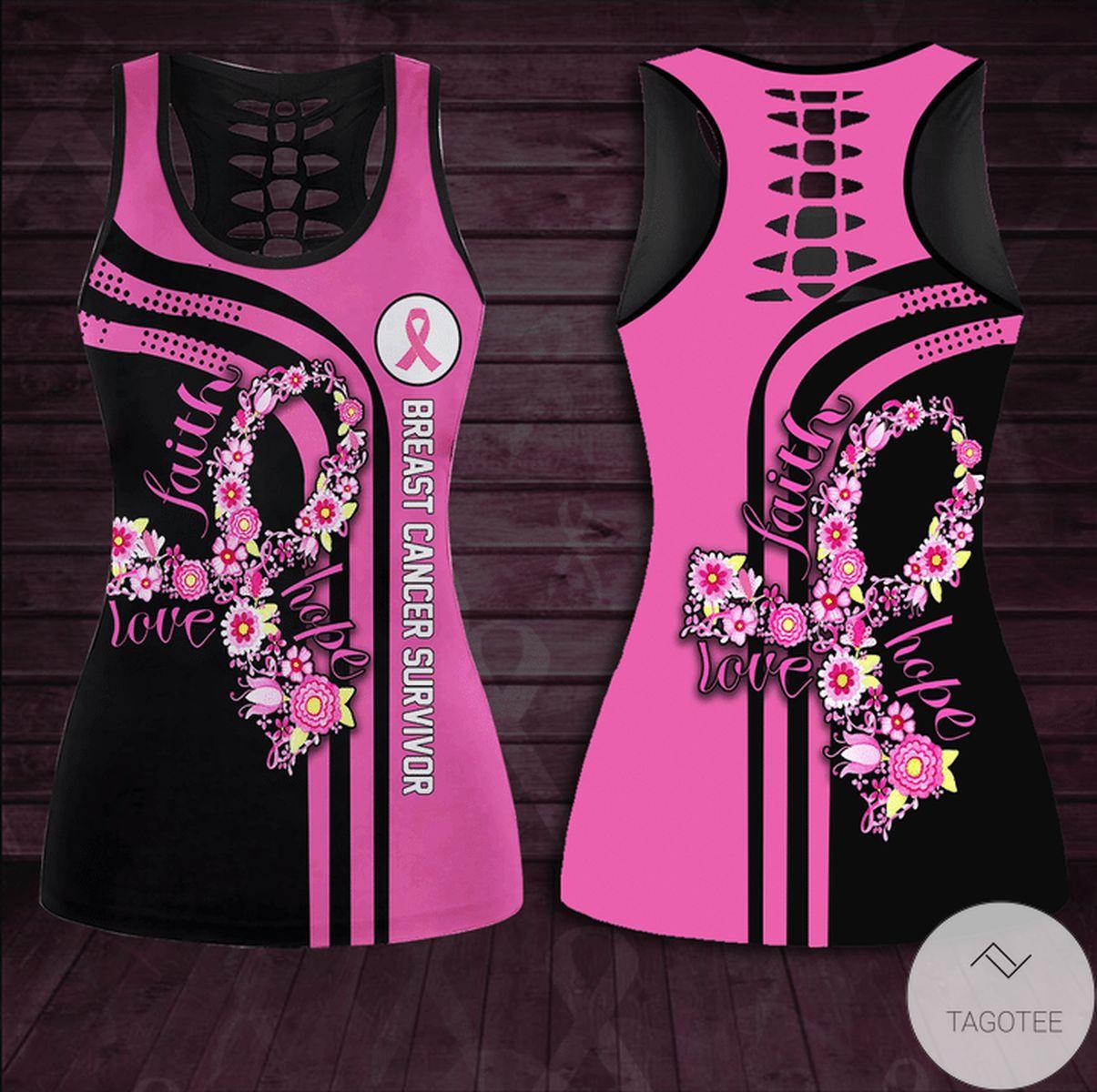 Amazon Breast Cancer Awareness Love - Faith - Hope Hollow Tank Top & Leggings Set