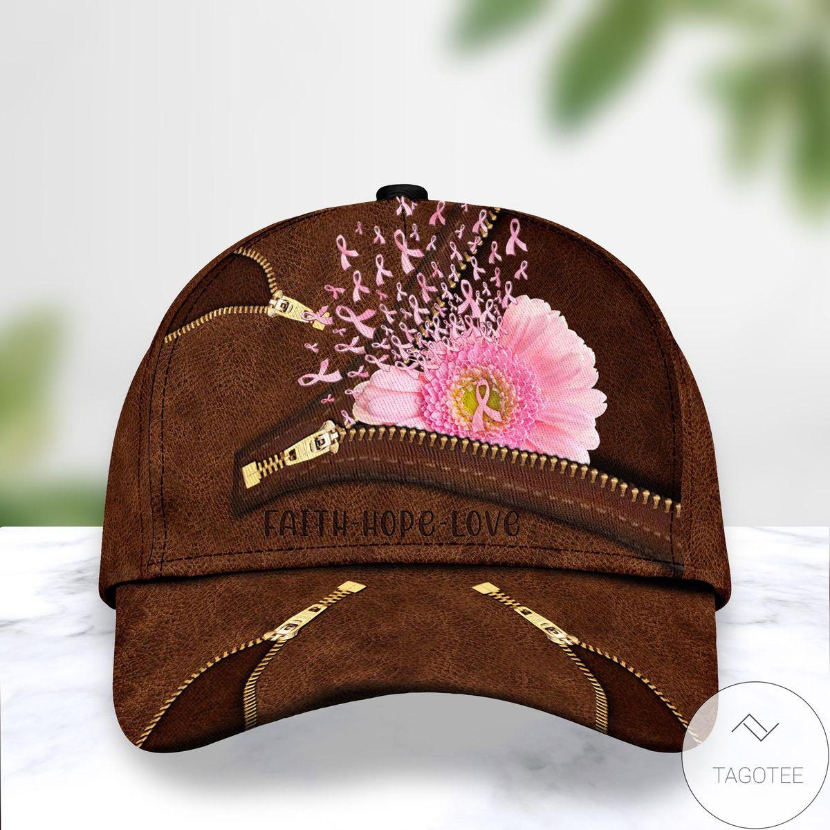Breast Cancer Pink Flower Faith Hope Love Cap
