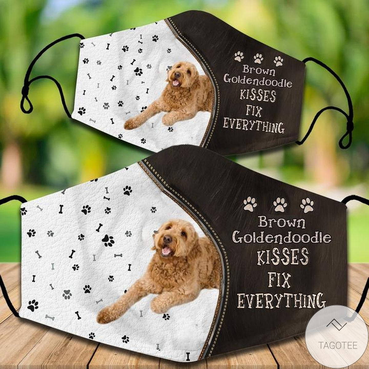 Brown Goldendoodle Kisses Fix Everything Face Mask