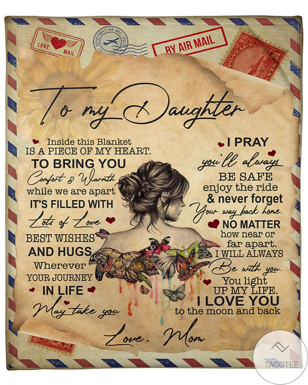 By Air Mail To My Daughter I Love You To The Moon And Back Blanket