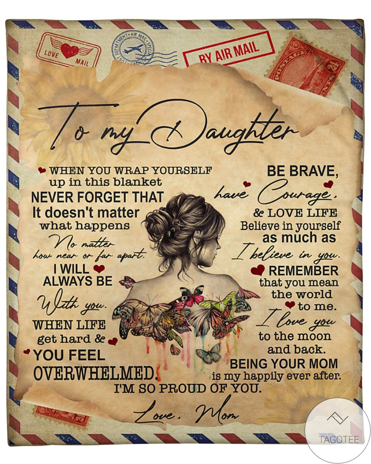 By Airmail To My Daughter I'm So Proud Of You Blanket