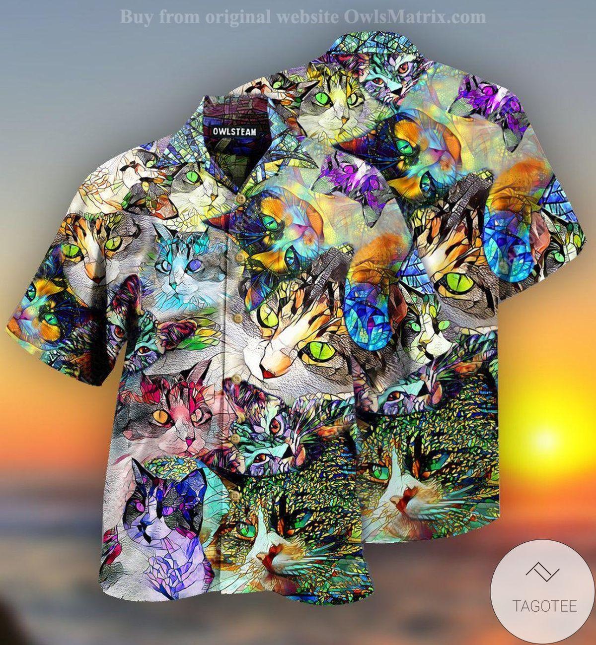 Cat Amazing Stained Glass Hawaiian Shirt