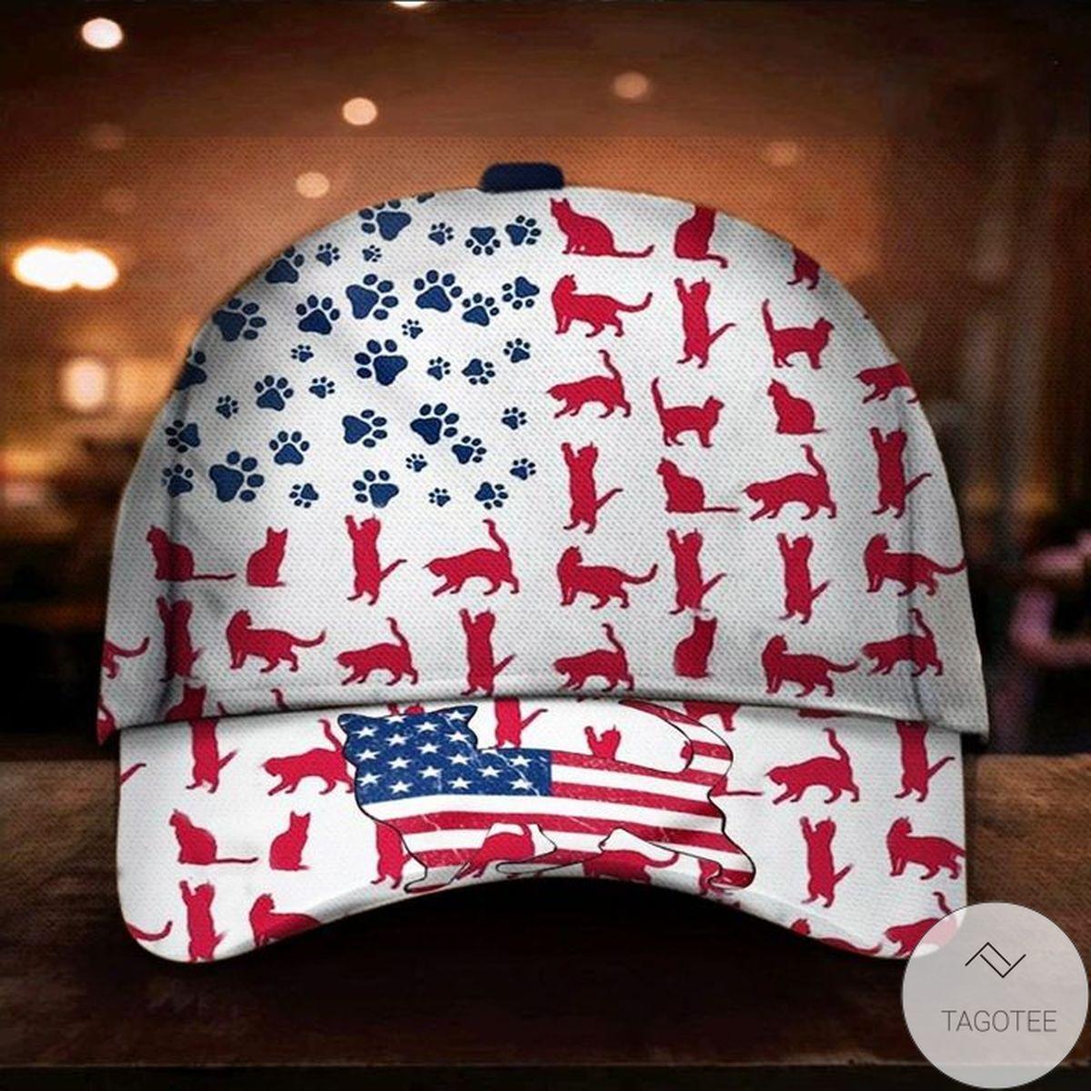 Cat American Flag Hat Cap