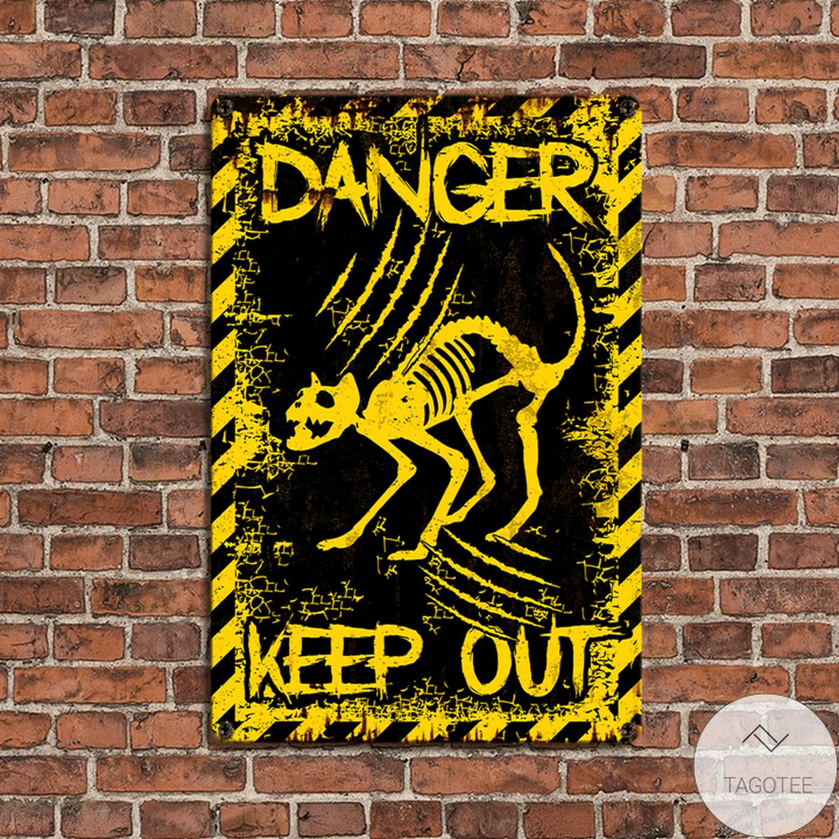 Top Rated Cat Angry Skeleton Danger Keep Out Metal Sign
