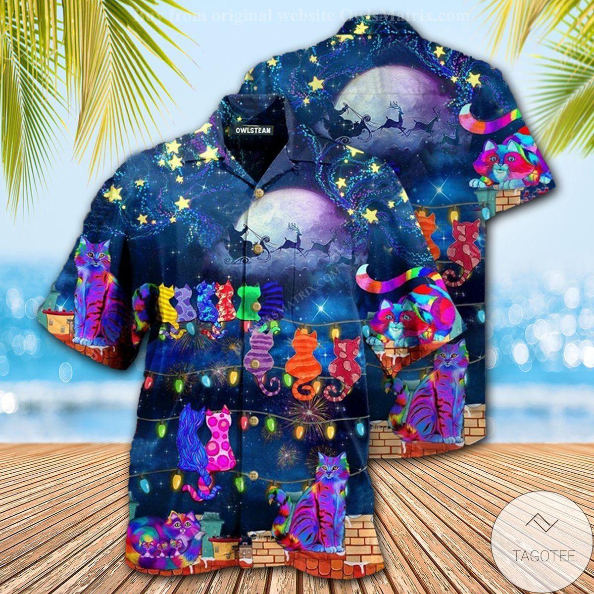 Cat Christmas Night Hawaiian Shirt