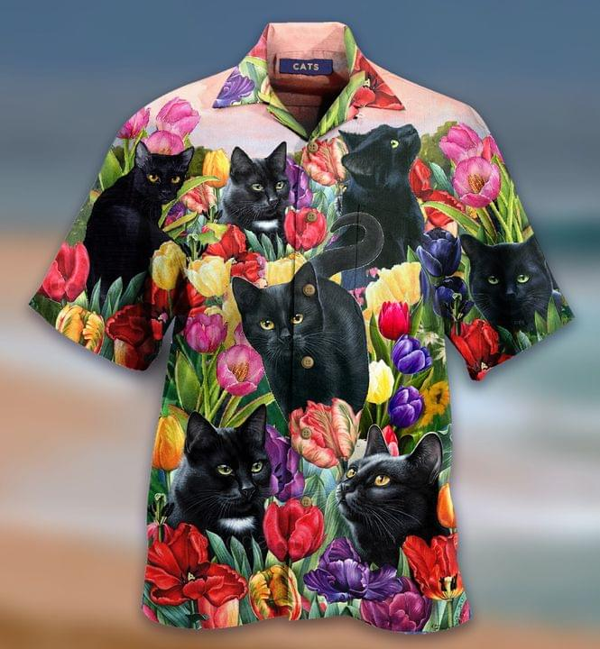 Cat Dream And Tulip Garden Hawaiian Shirt