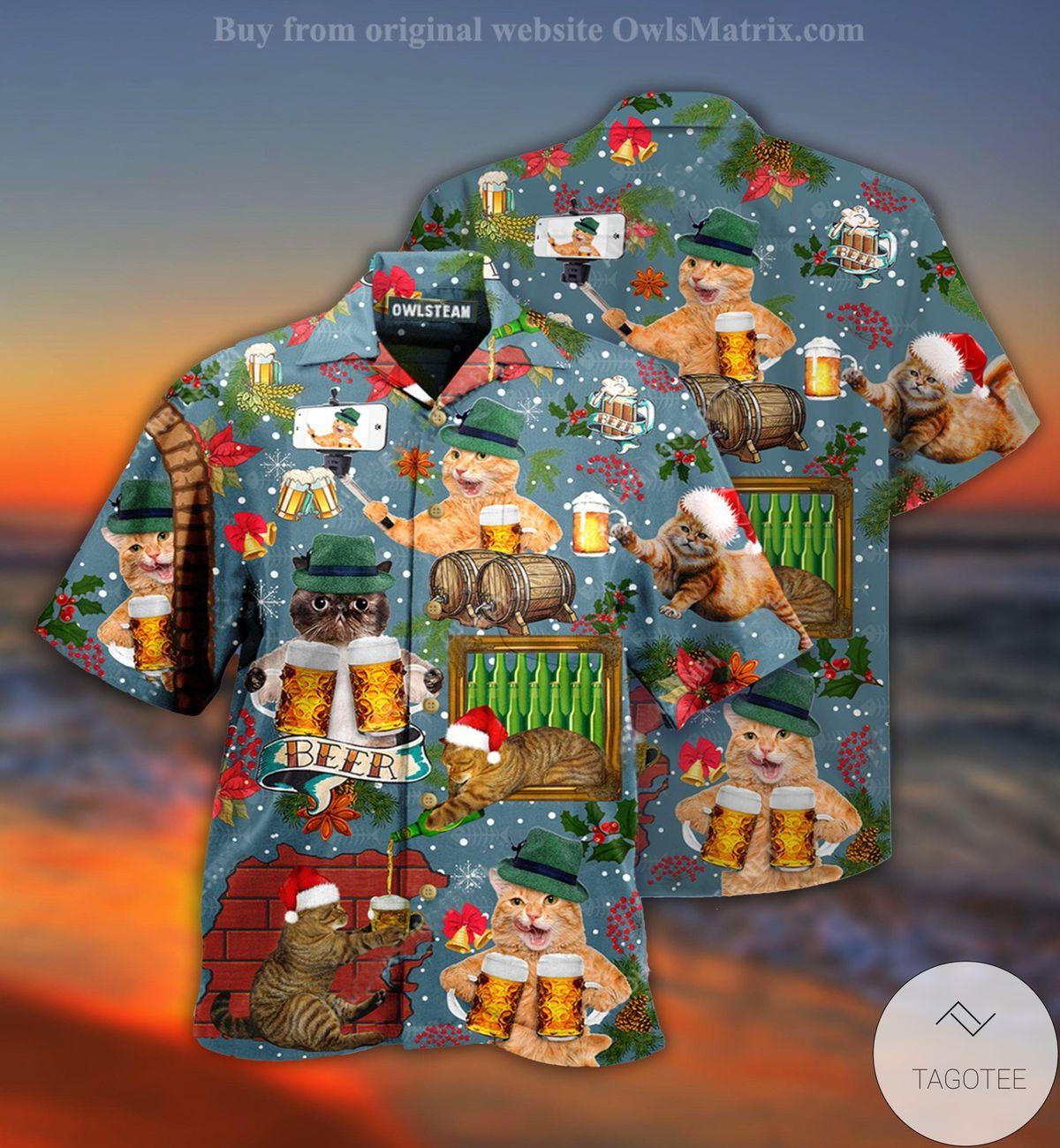 Cat Drink Beer Christmas Hawaiian Shirt