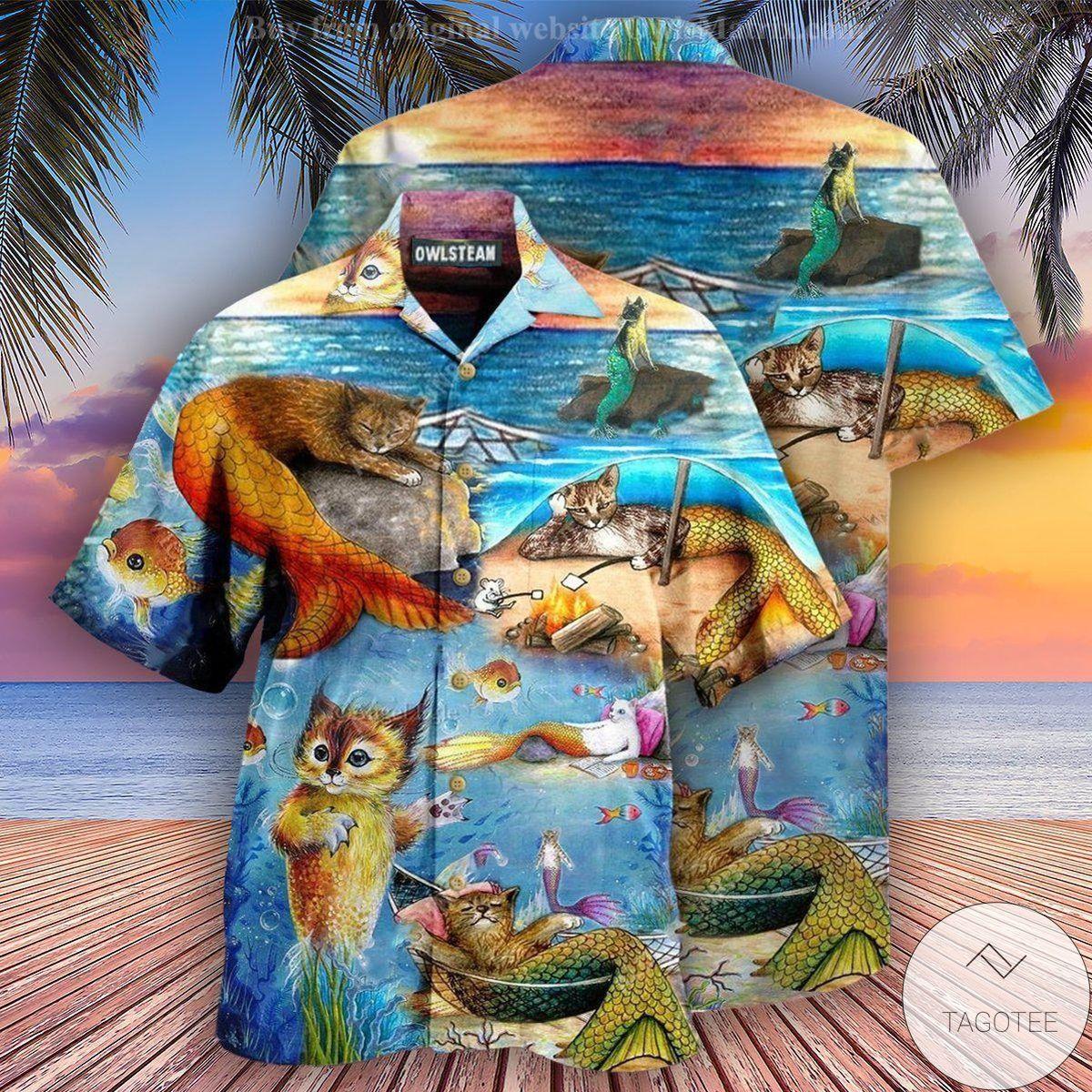 Cat Mermaid On The Beach Hawaiian Shirt