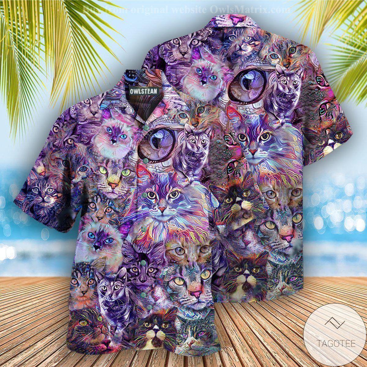 Cat Psychedelic Hawaiian Shirt