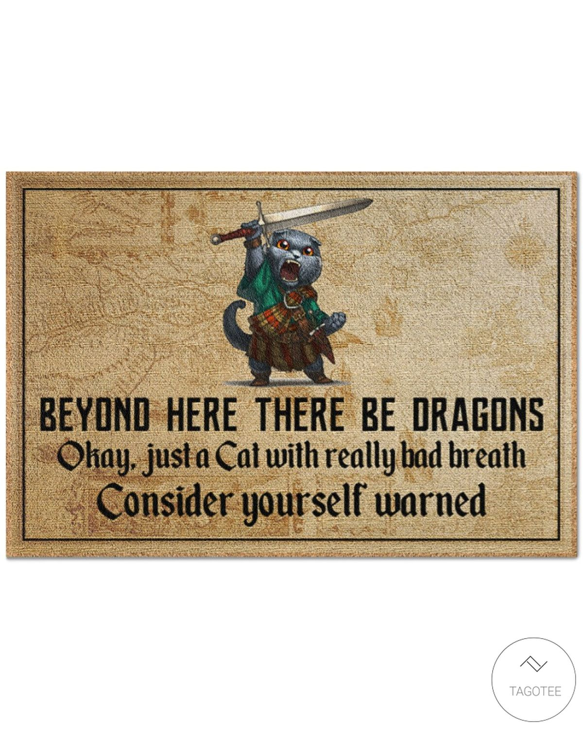 Cat Sword Beyond Here There Be Dragons Doormat