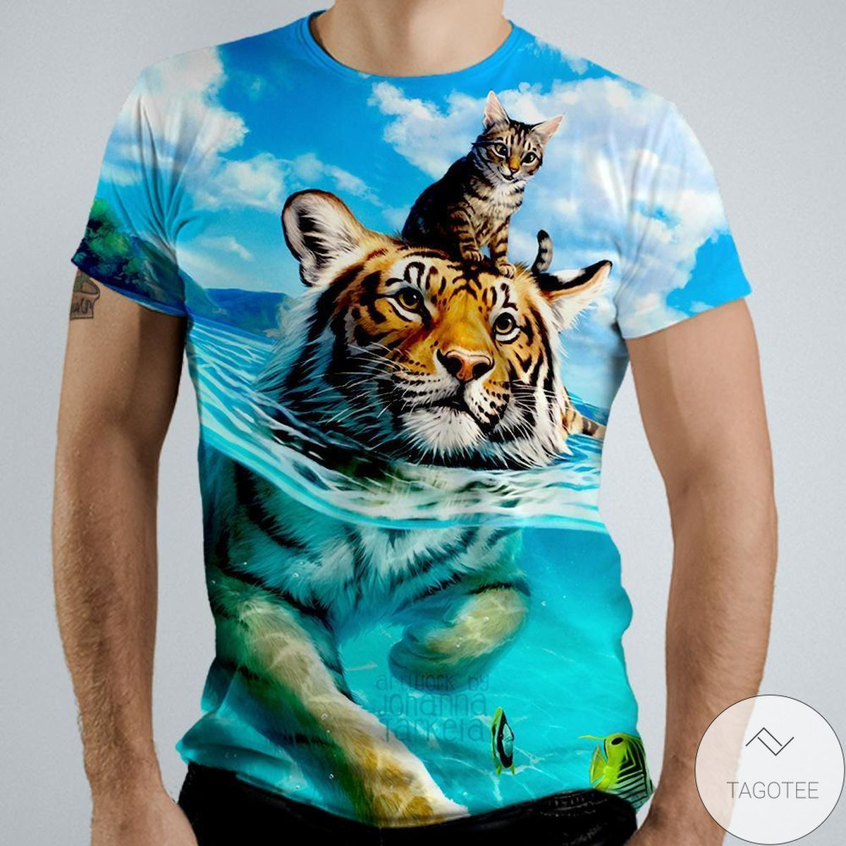 Cat & Tiger Swimming 3d Graphic Printed Short Sleeve Shirt