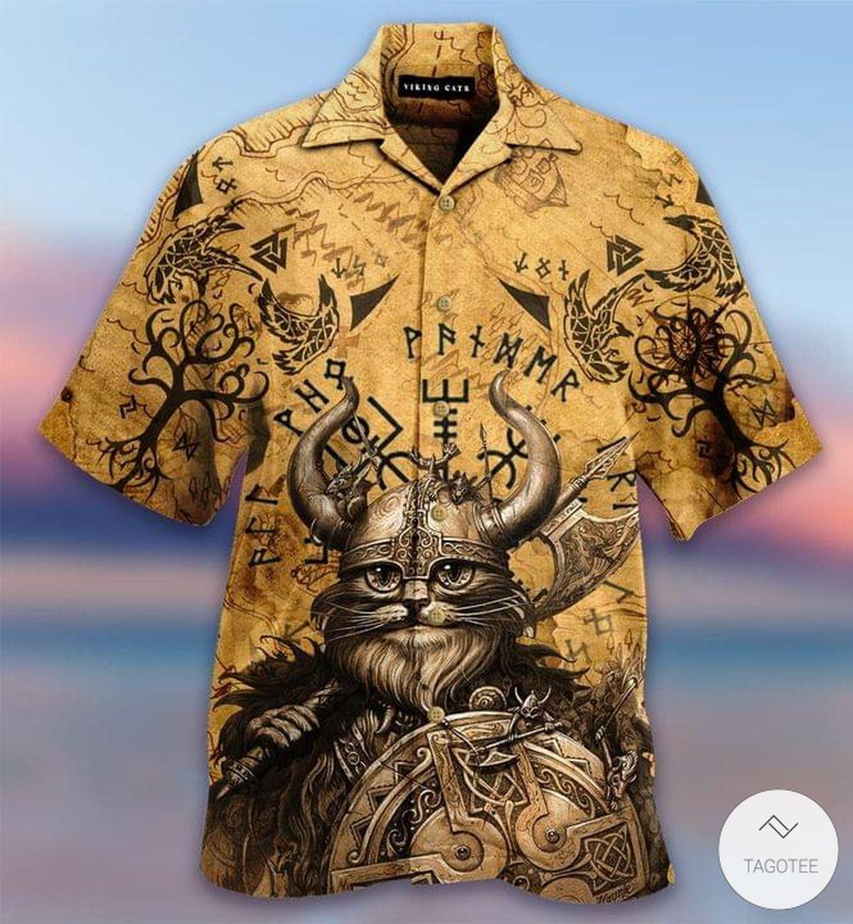 Cat Viking Valhalla Hawaiian Shirt