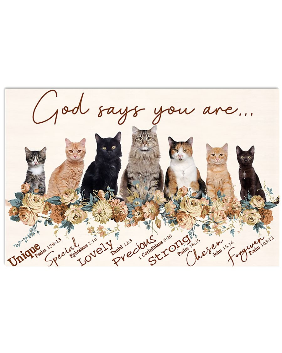 Cats God says you are unique special lovely precious strong chosen forgiven poster