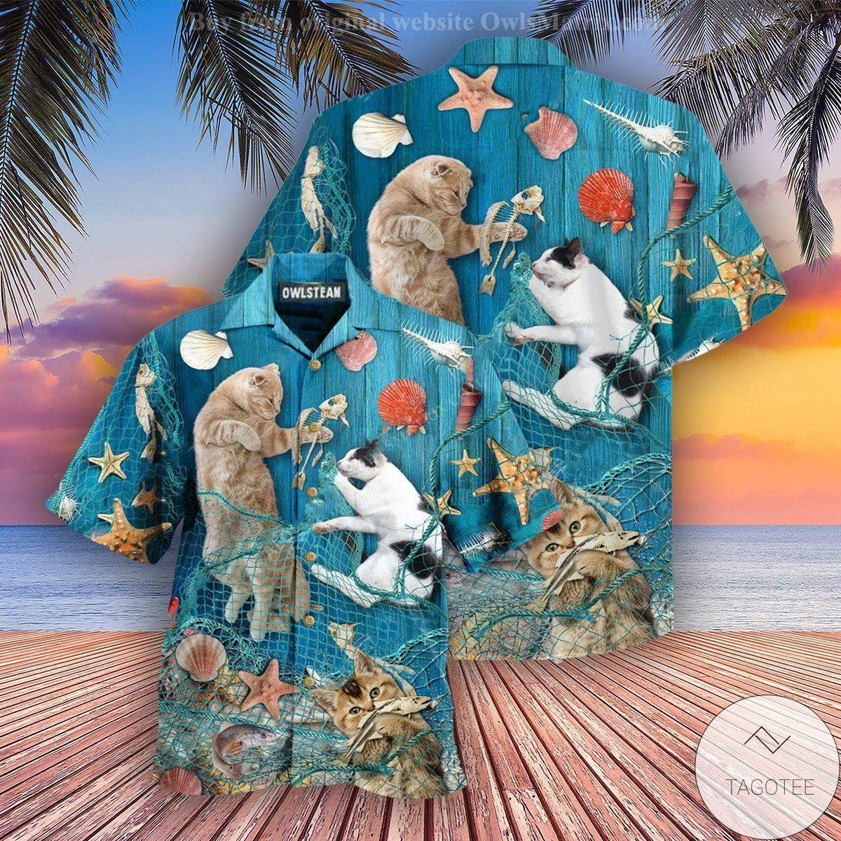 Cats Lay On Beach Hawaiian Shirt