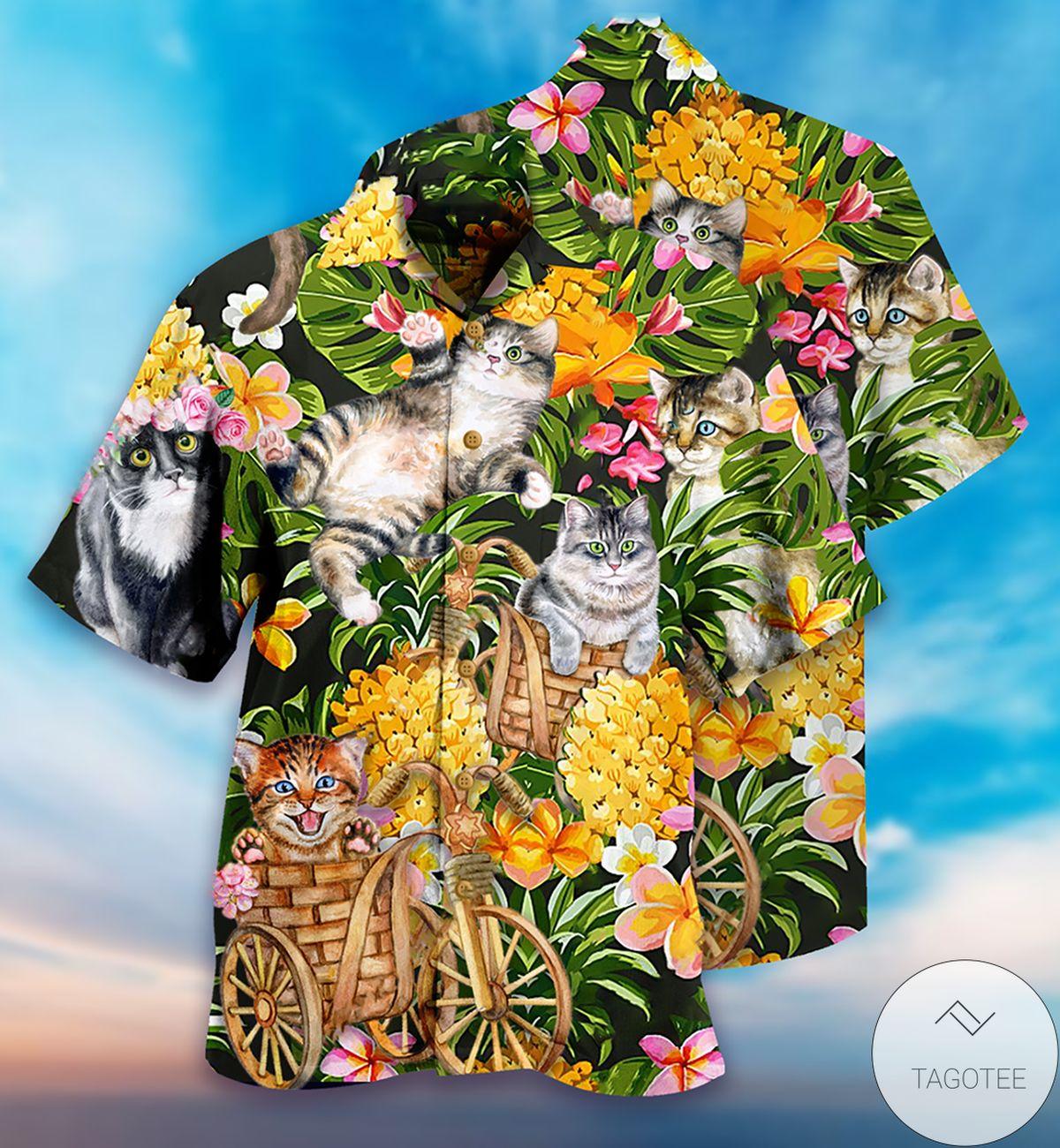 Cats Lovely And Flowers Garden Hawaiian Shirt
