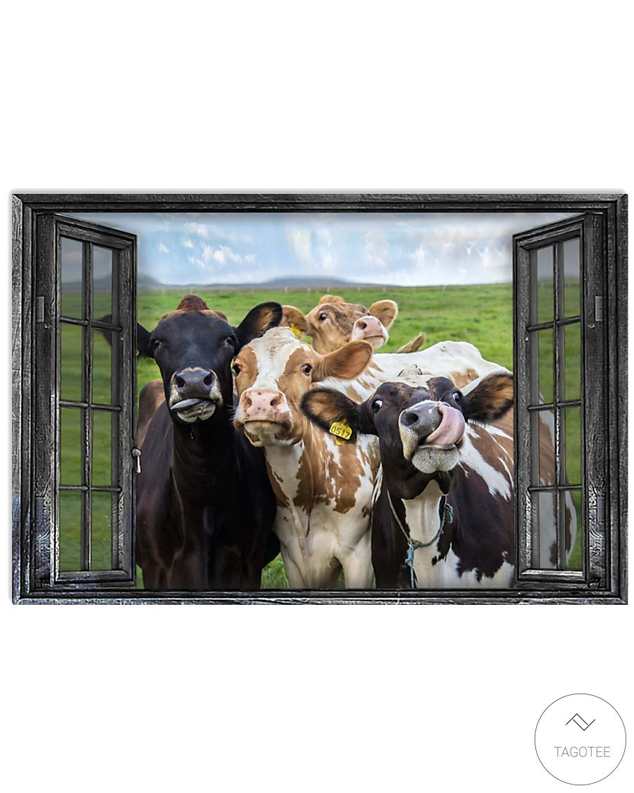 Cattle Cows Through The Window Poster