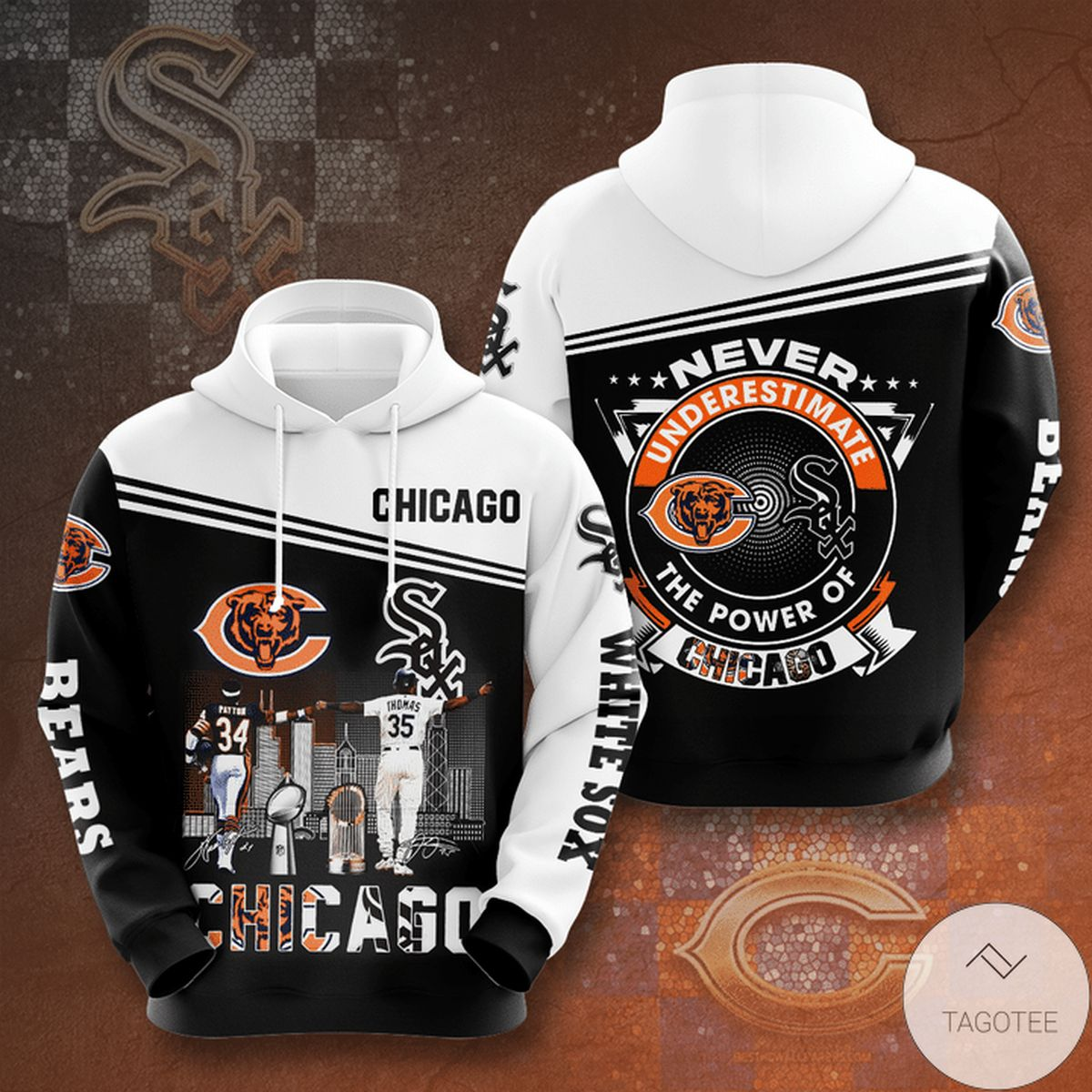 Chicago Bear And Chicago White Sox Never Underestimate The Power Of Chicago 3d Hoodie