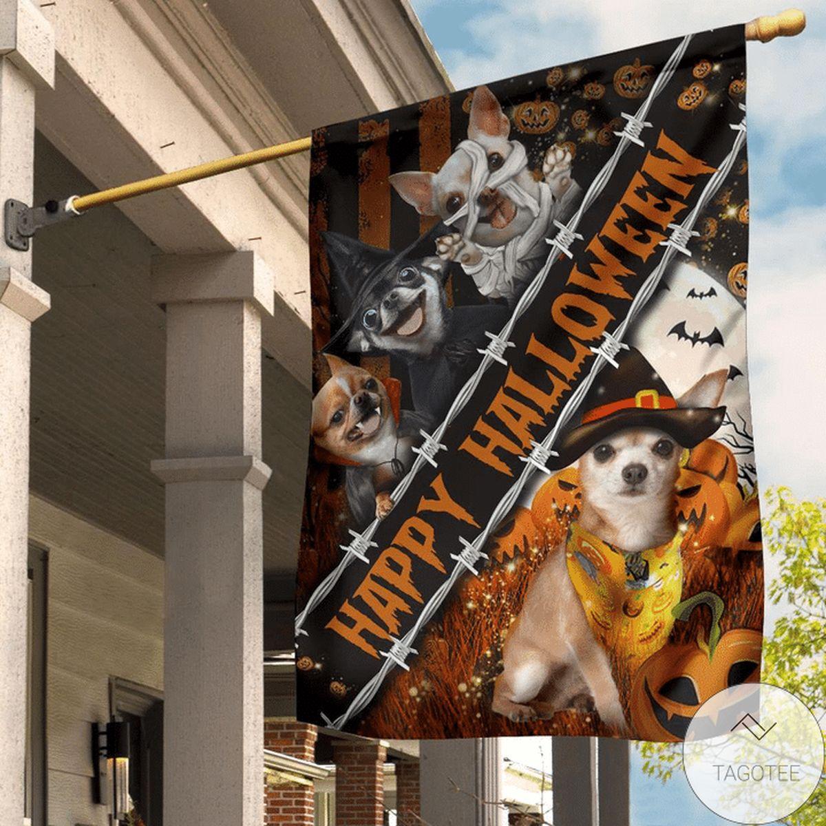 Chihuahua Custom Happy Halloween Flag