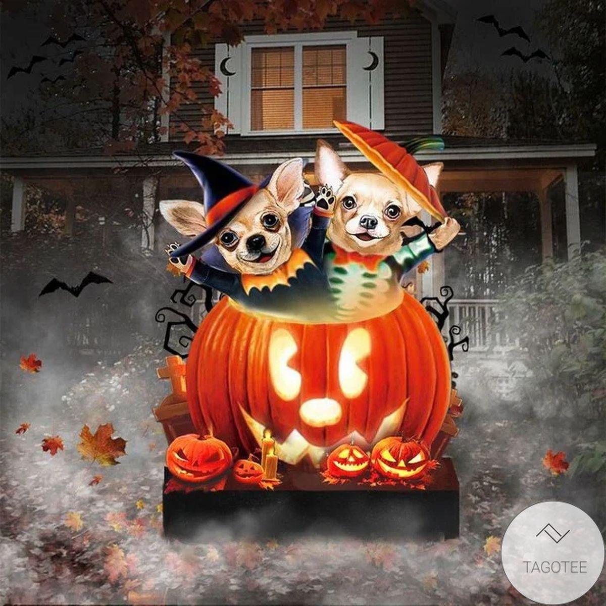 Chihuahua Pumpkin Halloween Yard Sign