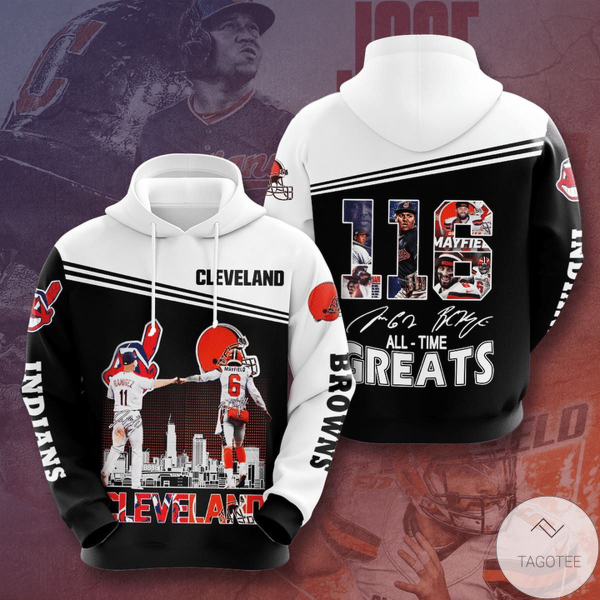 Cleveland Browns And Cleveland Indians 116 All Time Greats 3d Hoodie