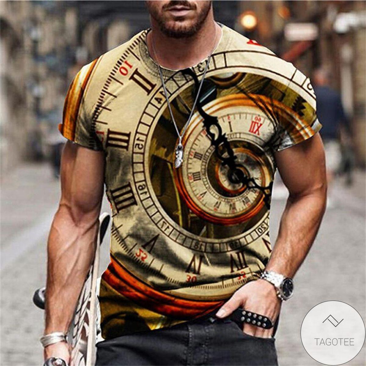 Clock 3d Graphic Printed Short Sleeve Shirt
