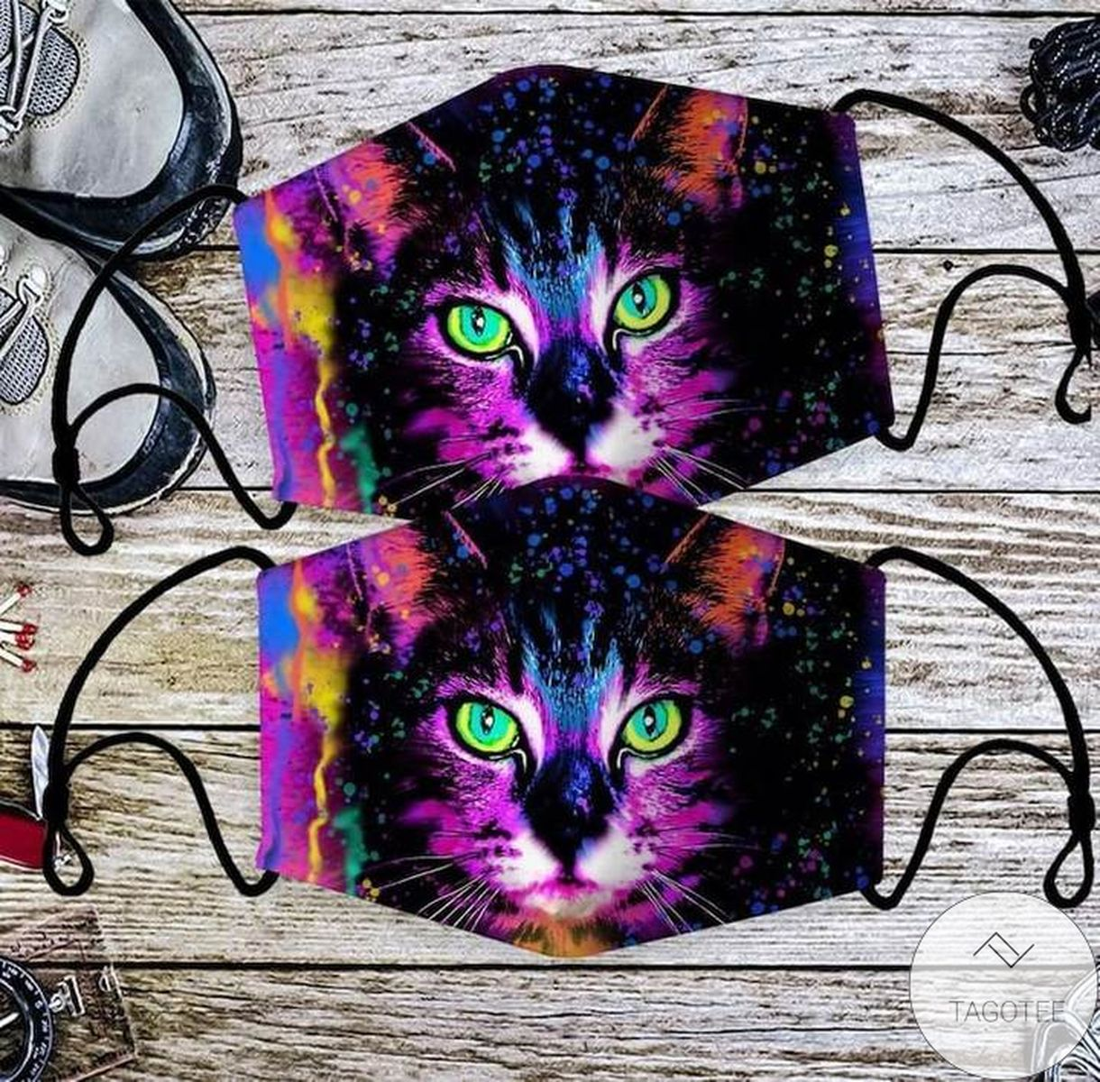 Colorful Cat Art Cloth Face Mask
