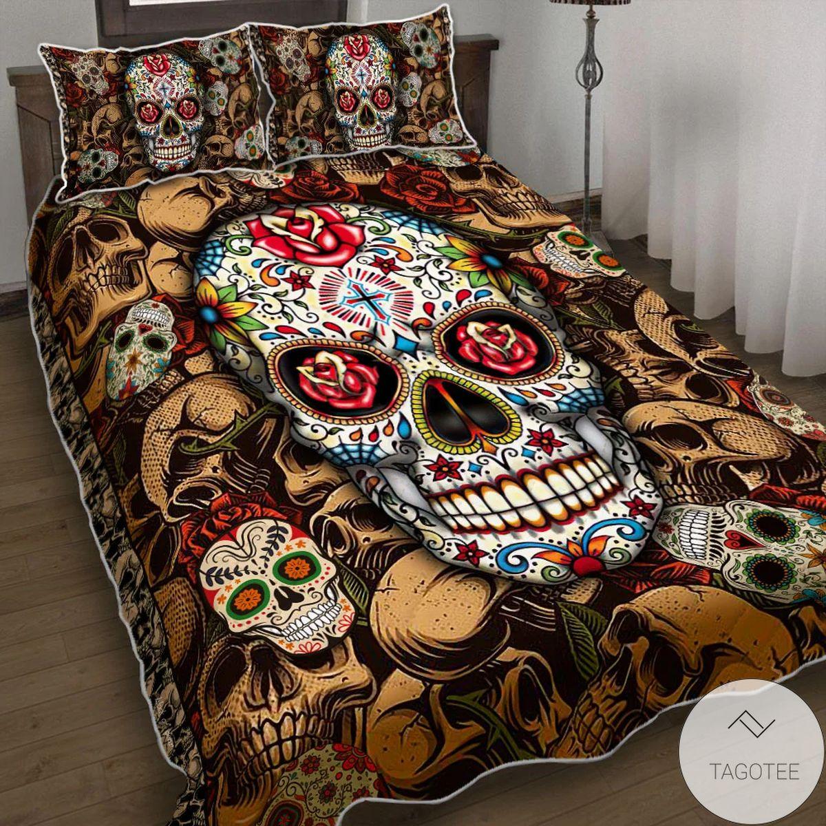 Colorful Skull Quilt Bedding Set