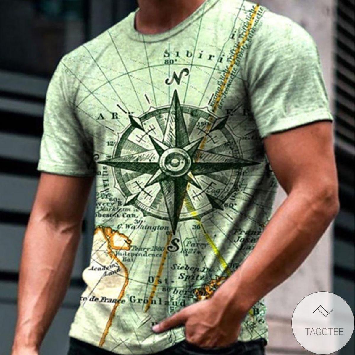 Best Compass 3d Graphic Printed Short Sleeve Shirt