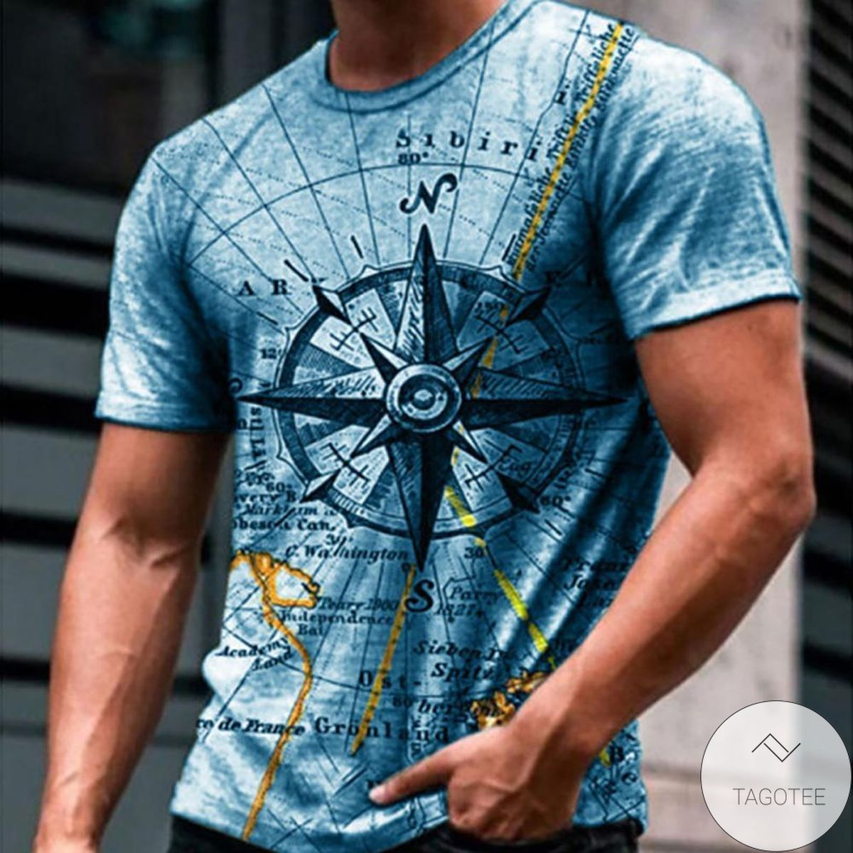 Compass 3d Graphic Printed Short Sleeve Shirt