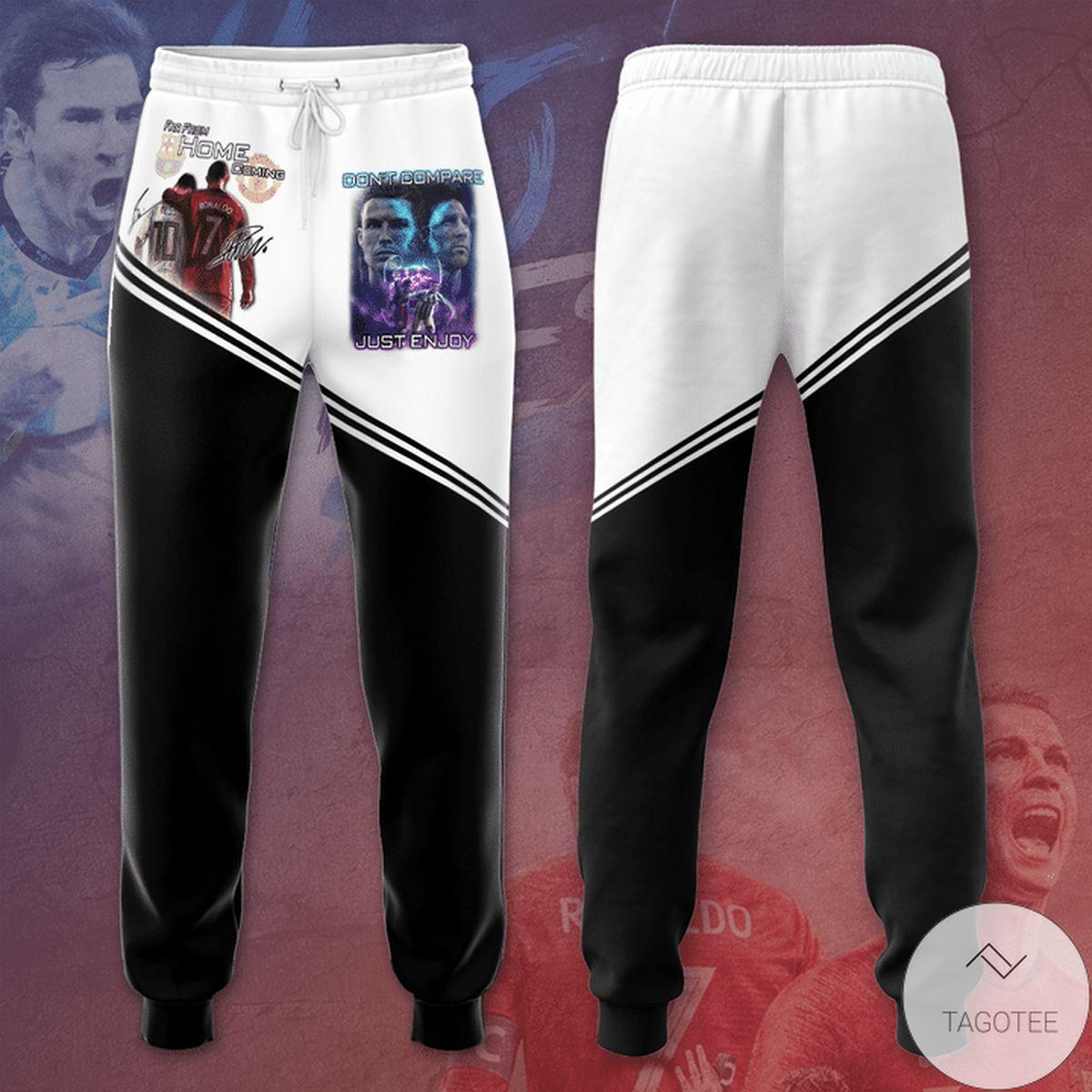 Cr7 Ronaldo Messi Black And White Unisex Long Pants