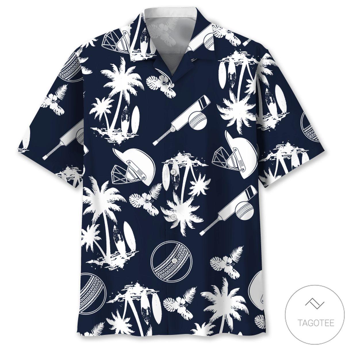 Present Cricket Palm Tree Hawaiian Shirt