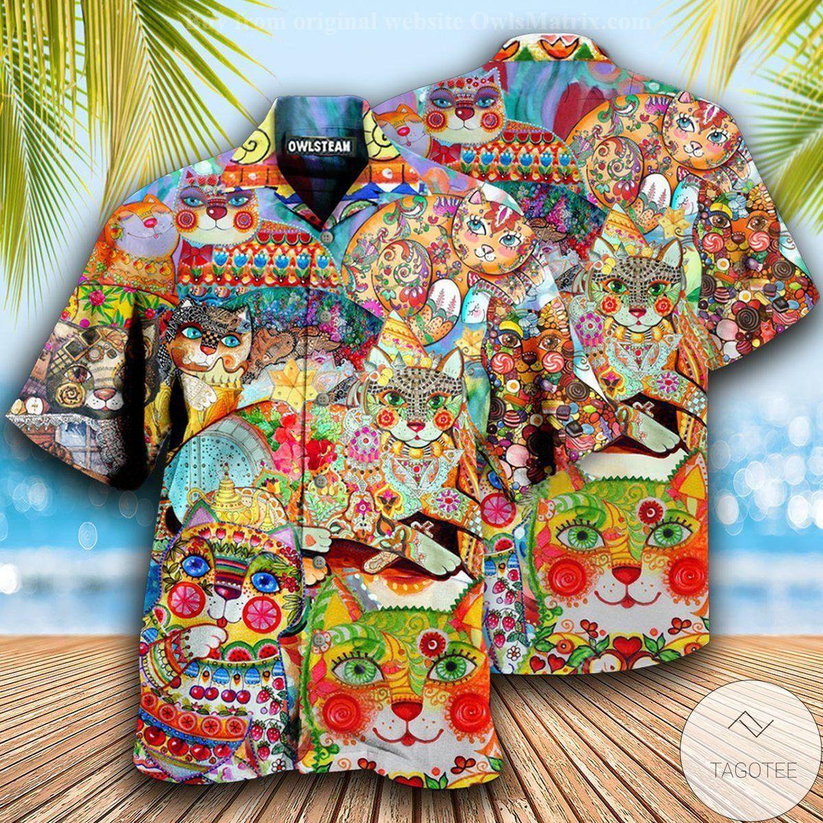 Funny Tee Cute Cat Colorful Hawaiian Shirt