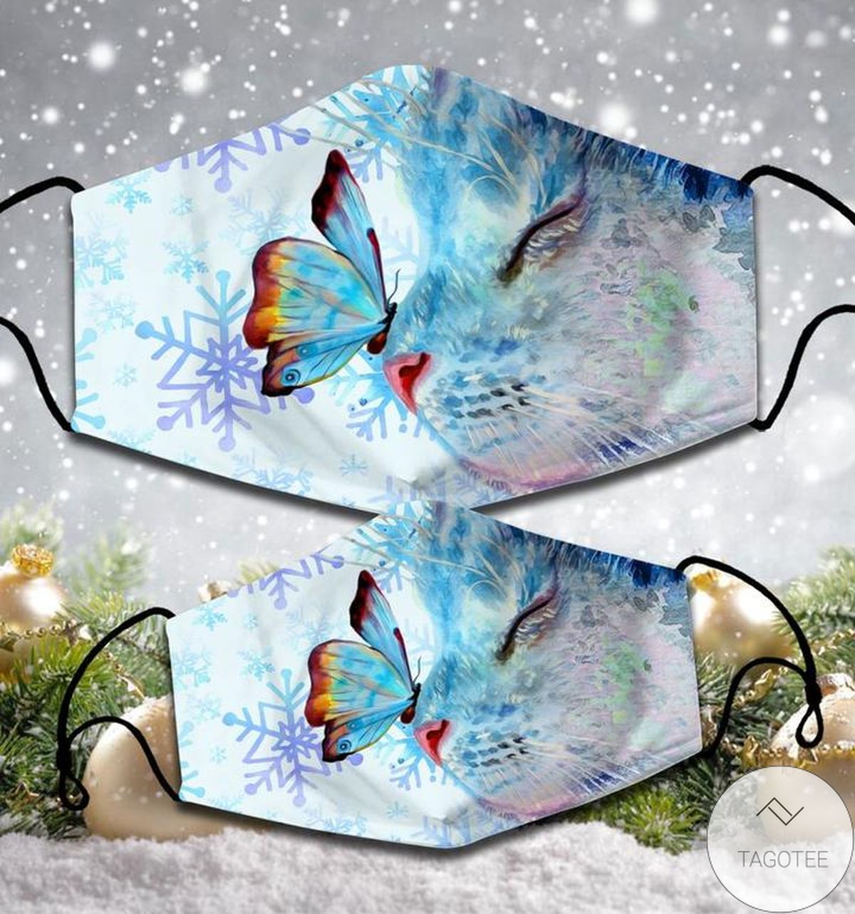 Cute Cat With Butterfly Cloth Face Mask