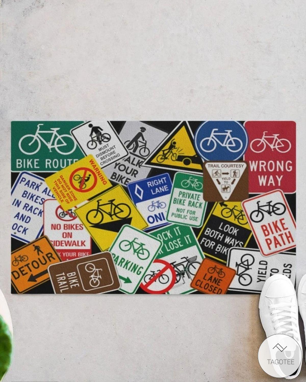 Cycling Sign Doormat